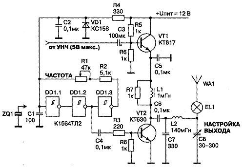 Передатчик (рис. 1) работает на частотах 1—2 МГц с амплитудной модуляцией.  К достоинствам этого пере=датчика следует...