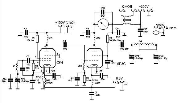 Схема задающего генератора на лампах на 3 кв радиоприемник схема блок питания для у м на.